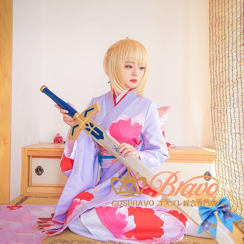 画像1: Fate/Grand Order アルトリア・ペンドラゴン セイバー 着物 晴れ着 コスプレ衣装 (1)
