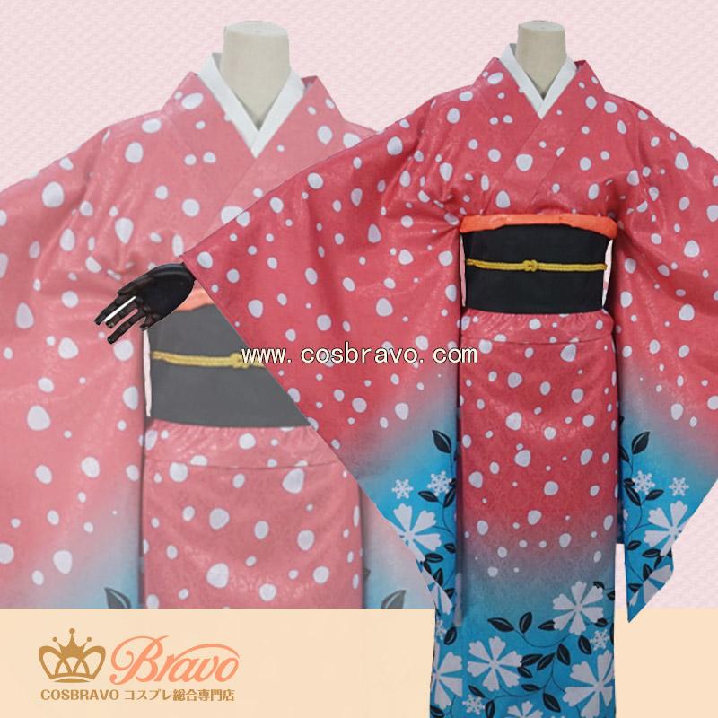 画像1: 鬼滅の刃 猗窩座の妻 恋雪 コスプレ衣装 (1)